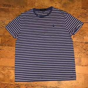Polo Ralph Lauren Blue and White Striped Tee, M